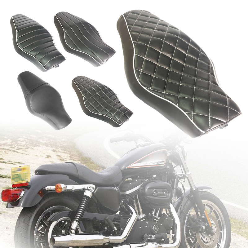 1pc Motorcycle Black Driver+Passenger Two Up Sofa <font><b>Seat</b></font> Tour <font><b>Seat</b></font> Bench <font><b>Rear</b></font> Cushion for Harley Sportster <font><b>883</b></font> 48 <font><b>Iron</b></font> XL1200 image