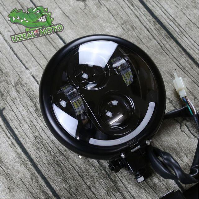5.75 inchHigh qualité moto phare universel boober chopper Vintage moto avant lumière lointain lumière personnalisée phare LED