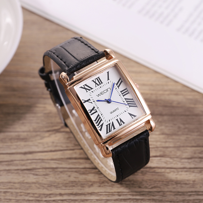 Women Wecin Classic Square Shape Figure PU Leather Watchband Wristwatch Quartz Watch Watches Relogio Feminino Montre Femme Hv5n
