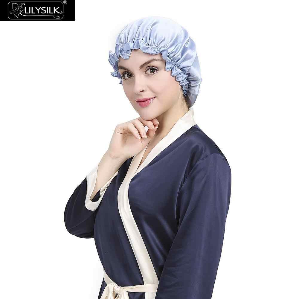 Lilysilk flounced يلة النوم قبعات 2017 ماركة المرأة الصلبة 19 momme الحرير الساتان الأنيق الشعر العناية اكسسوارات