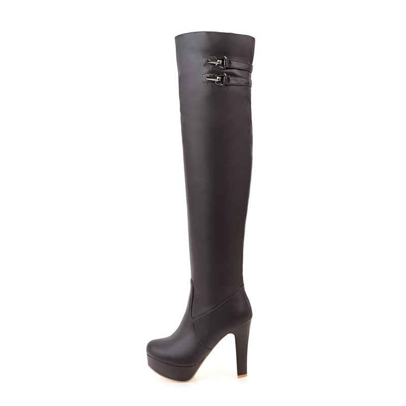 Platform Square High Heel Woman Over The Knee Boots Bucke Zipper Fashion Ladies Thigh Boots Black Brown White