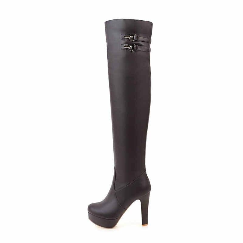 Yüksek topuklu diz çizmeler üzerinde kadın kış uyluk yüksek çizmeler bayanlar moda fermuar platformu siyah kahverengi beyaz çizmeler uzun