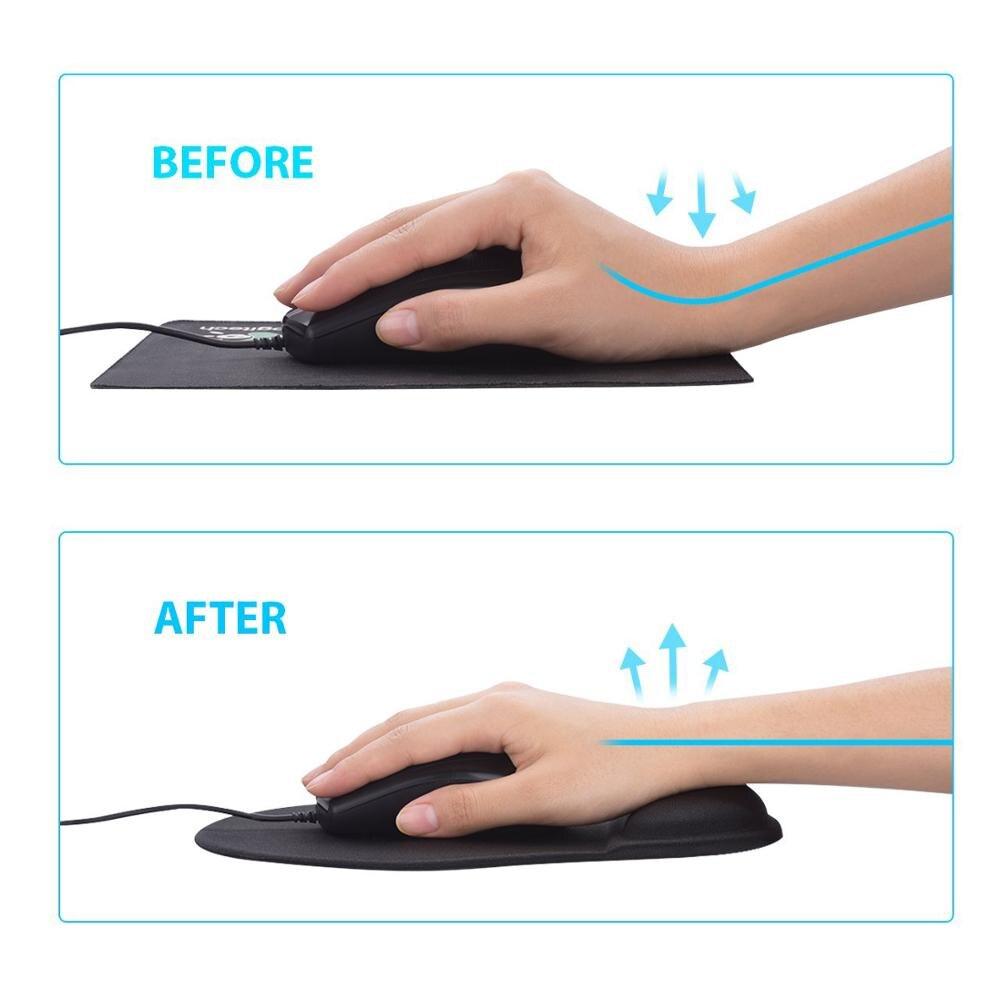 Wrist Rest Mouse Pad Non-Slip Base Superfine Fibre Memory Foam Wrist Rest Pad Ergonomic Mousepad for PC Laptop Office Gaming
