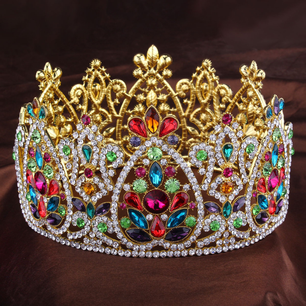 3 1/2 Inch Height Big King Queen Golden Full Crowns Rhinestone Shinning Tiaras And Crowns Full Circle For Wedding Diadem