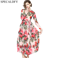 Runway Dresses 2018 Women High Quality Floral Print Elegant Chiffon Dress Spring Autumn Dresses Party Vestidos Robe Femme Ete