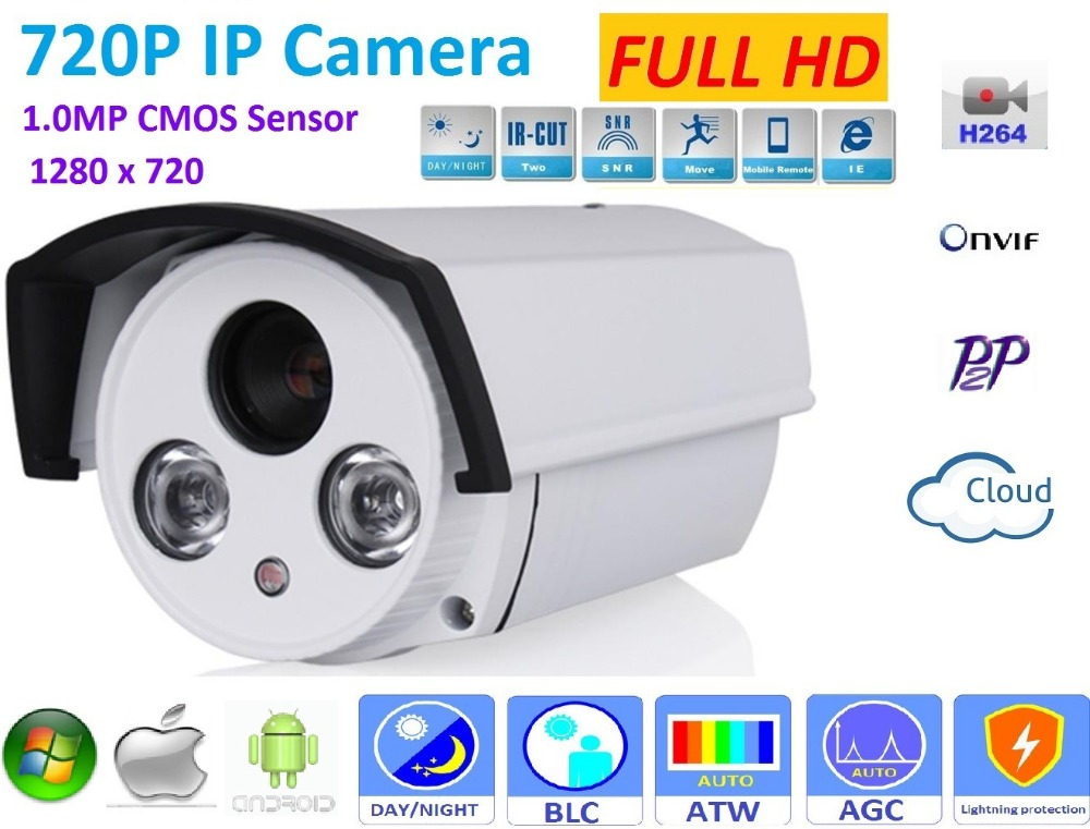 1280*720P ONVIF H.264 P2P Waterproof Outdoor IRCUT Night Vision POE 720P IP Camera support POE Switch 48V or DC 12V Power supply