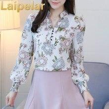 2018 new spring long sleeved blouses fashion slim casual print plus size elegant OL style women shirts chiffon clothing Laipelar