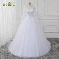 Wuzhiyi Applqies vestido דה noiva שרוול ארוך תחרת קו שמלת חתונת חרוזים ציפר שמלות כלה 2017 vestidos דה novia