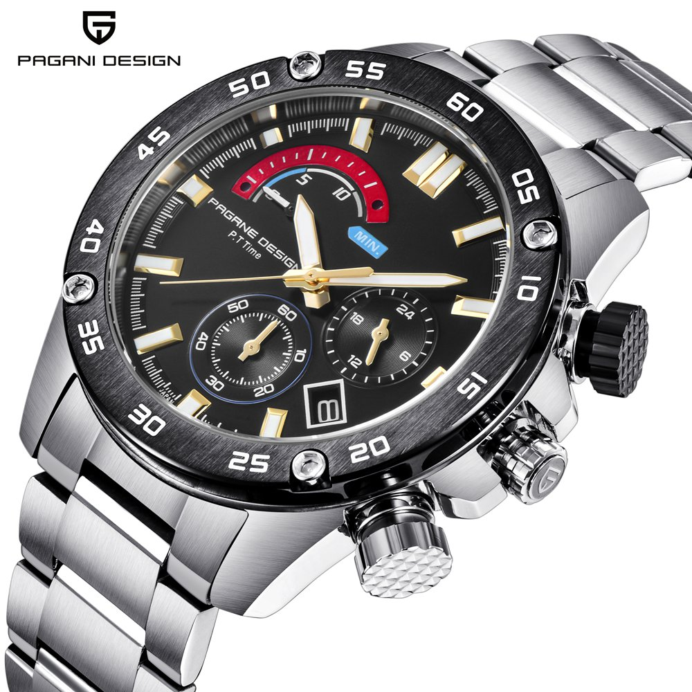 PAGANI DESIGN Luxury Brand Men Watches Business Stainless Steel Waterproof Sport Watch Chronograph Quartz Wristwatch erkek saatPAGANI DESIGN Luxury Brand Men Watches Business Stainless Steel Waterproof Sport Watch Chronograph Quartz Wristwatch erkek saat