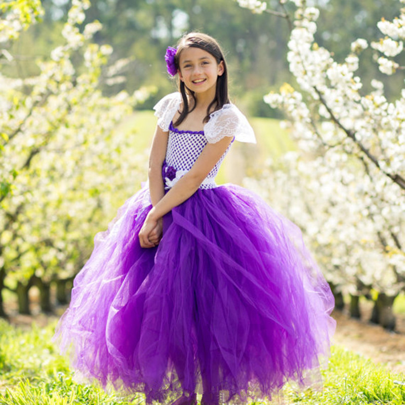 Handmade Lace Tulle Tutu Dress Princess Flower Girl Dresses For Wedding and Party Baby Kids Girls Birthday Pageant Formal Dress 2017 kids girls wedding flower girl dress princess party pageant formal dress crossed back sleeveless lace tulle dress 2 14y