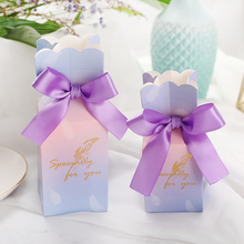 50pcs/lot Candy Box wedding box Romantic flower tiffany blue paperboard gift paper bag decor gifts for guest