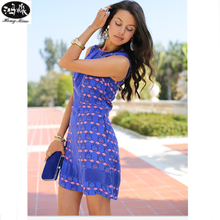 2018 Summer New Women Dress Sexy Nightclub Round Neck Waist Sleeveless Dress  Elegant Fashion Club Wear 9e248769b9c0
