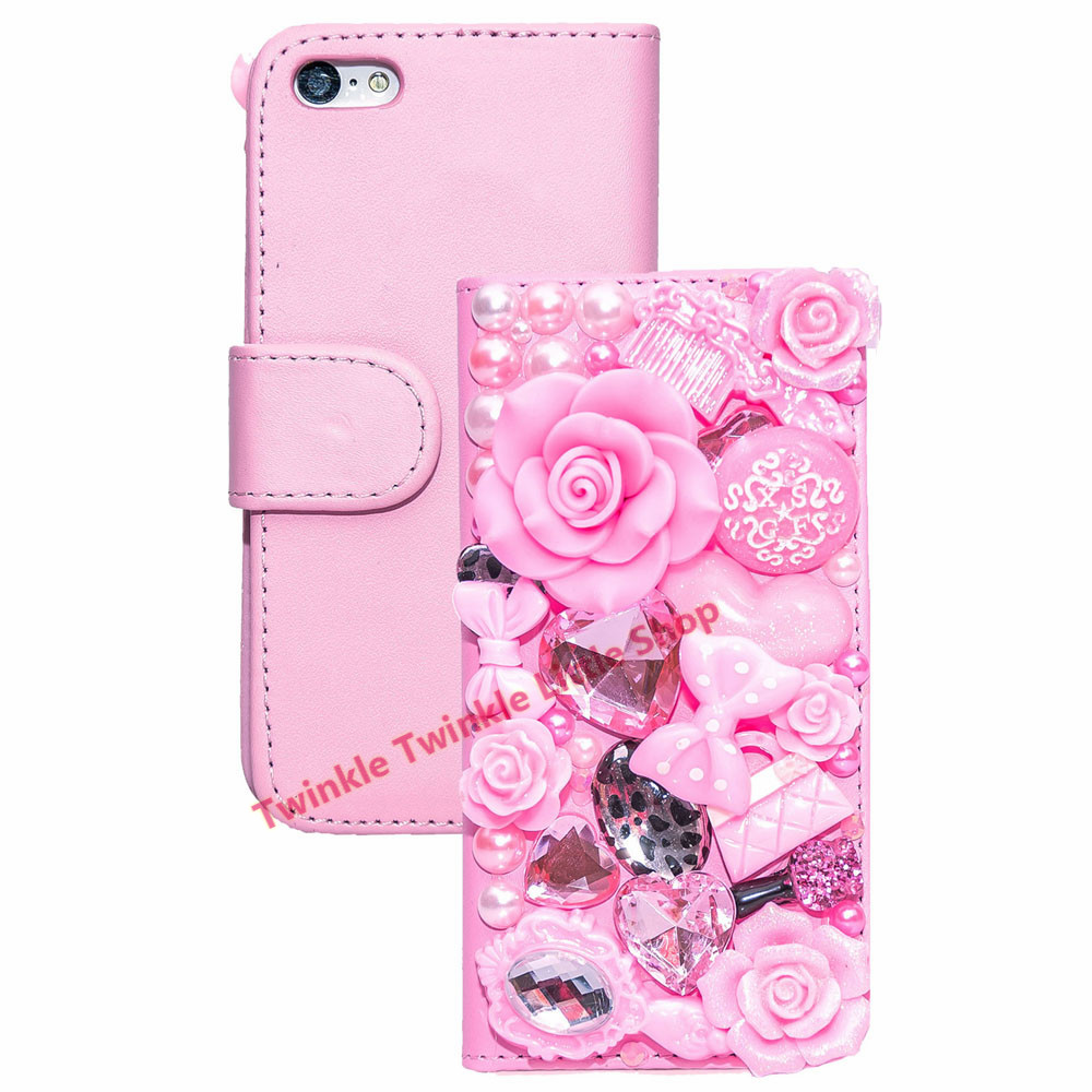 Handmade fashionable 3d diamond wallet flip leather phone for 3d decoration for phone cases