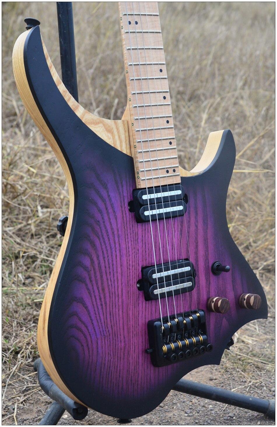 NK Sans Tête Guitare Électrique steinberger style Modèle éclat Violet Couleur Flamme manche érable en stock Guitare livraison gratuite