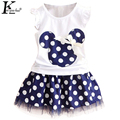 2017 New Summer Girls Dot Suit Sleeveless T-shirt + Dress Flowers Girls Dress Kids Clothes Girls Cartoon Suit Children Clothing