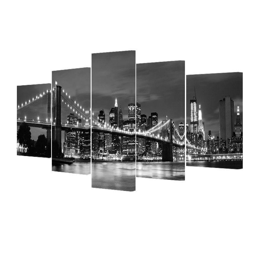5 darabos moduláris képek, vászon művészet Modern New York-i - Lakberendezés