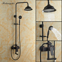 Bathtub Faucet Shower-Set Wall-Mounted Rainfall Black with WB1801 Swivel-Spout Bronze