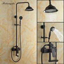 """Torneira chuveiro 8 """"para parede, chuveiro queda d água torneira preta bronze montado na parede giratório banheira torneira com chuveiro de mão wb1801"""