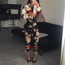 Для женщин модные элегантные Повседневное спецодежды вечерние ползунки женский Цветочный принт с отложным воротником с длинными рукавами комбинезон