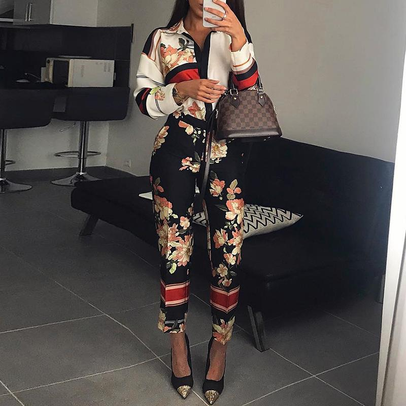 Women Fashion Elegant Casual Workwear Party Romper Female Floral Print Turn-Down Neck Long Sleeve Jumpsuit