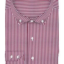 55035b72 UPUSHY 100% cotton burgundy striped with button down collar two cuff slim  fit bespoke