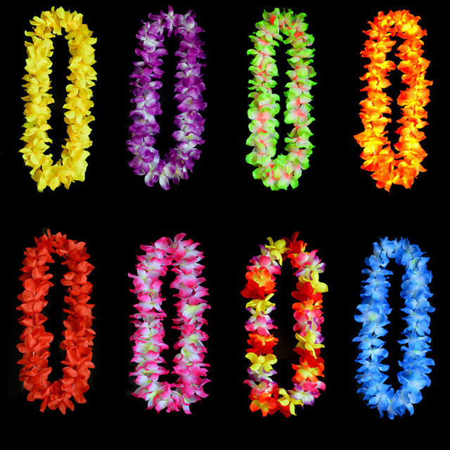 artificial flowers wreath party hawaiian flower leis wedding birthday garland flower necklace christmas decorations for home in party diy decorations from