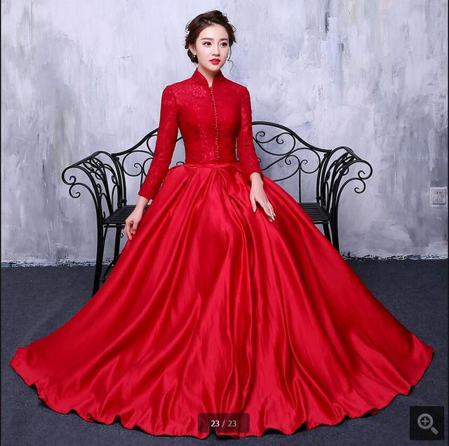 e11a03e8171 Robe De Soiree wine lace satin a line long sleeve prom dress high neckline  modest muslim arabic style simple prom gowns