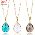Birthday Stone Faceted Glass Bezel Pendant Necklace Metal Frame Crystal Chain Necklace for Women Christmas Gift