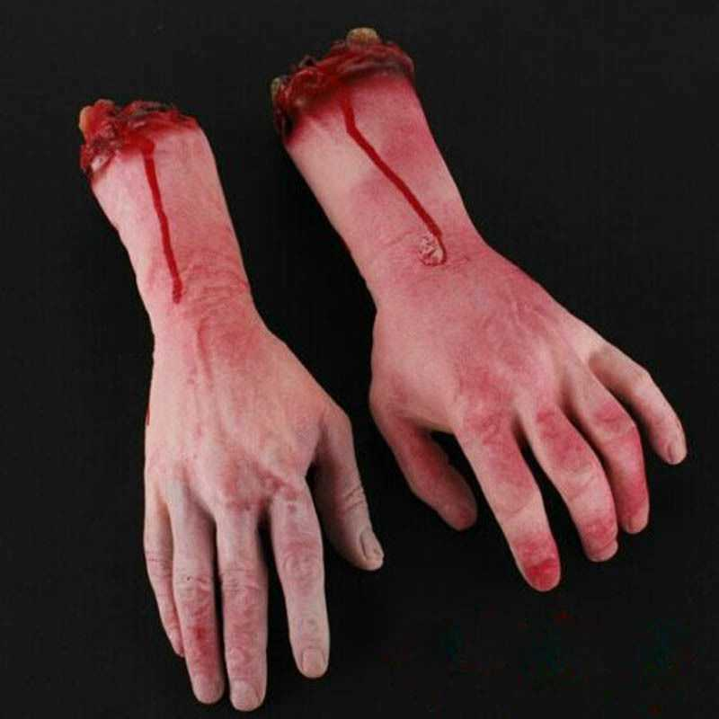 Bloody Horror Scary Halloween Prop Fake Severed Life Size Arm Hand House 22-23Cm