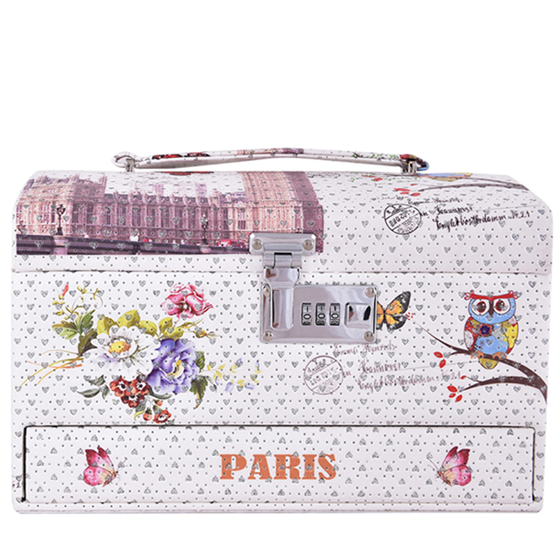 ФОТО 2016 New design high heeded owl flower design Make up Box Makeup Case Beauty Case Cosmetic Bag Multi Tiers Lockable Jewelry Box
