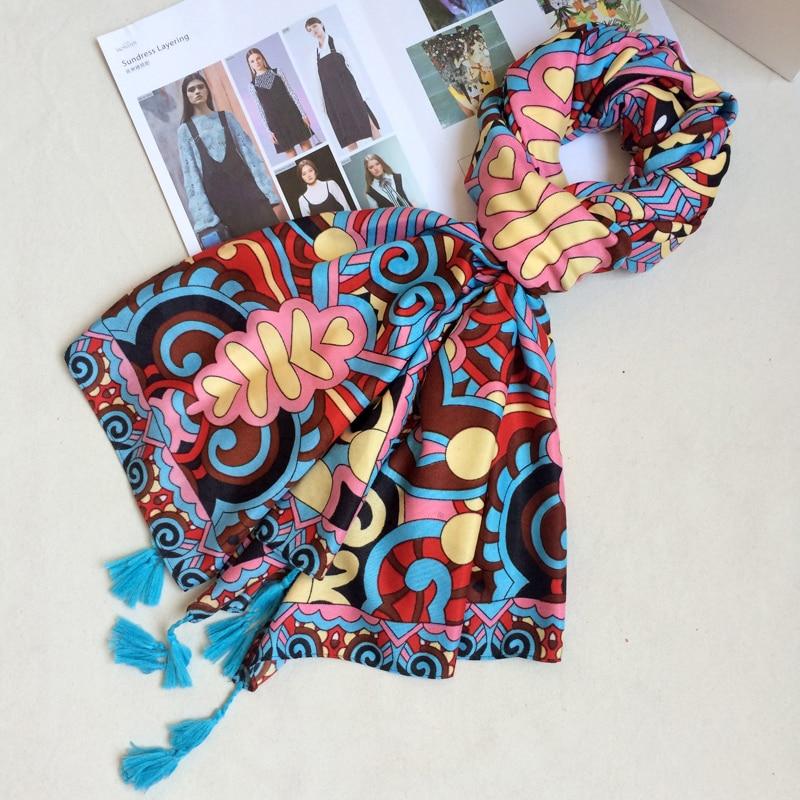IANUS Ethnic Twill Cotton <font><b>Scarf</b></font> Colorful Totem Print Shawl Oversized Blanket Tassels <font><b>Scarves</b></font> 180x90 cm [1948]