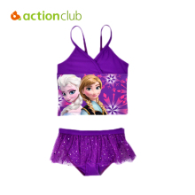 Actionclub Two Pieces Baby Girls Bathing Suit Elsa Anna Sophia Swimsuit Children Bikini Set Kids Cartoon Swimwear Costumes SA111