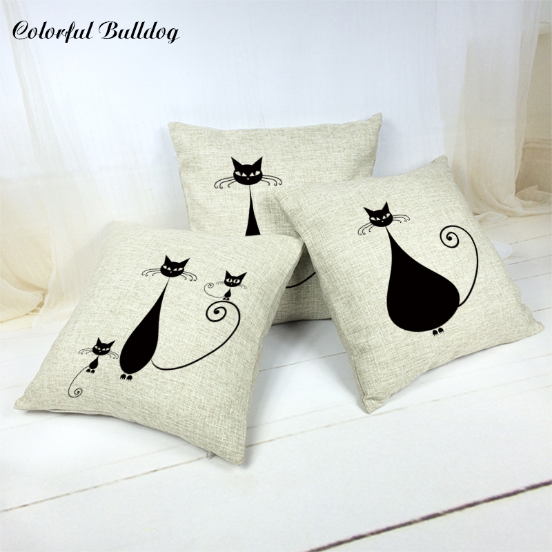 Universal Fashion Popular Cotton Linen Lovely Black Cat 43*43cm Square Throw Pillowcase Sofa Car Seat Garden Decor Cushion Cover ...