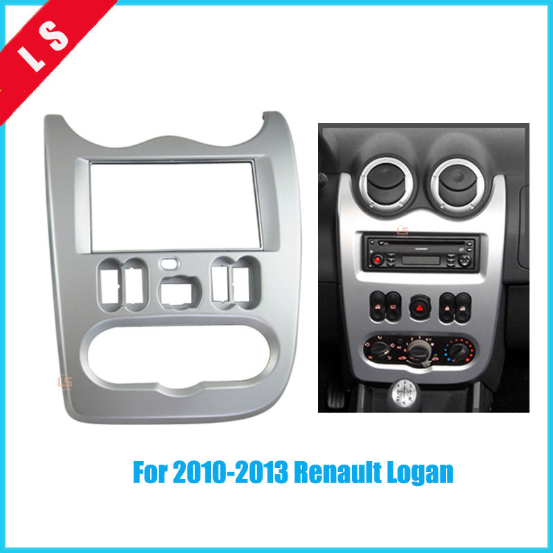 2 DIN Car Radio Frame Fascia for 2010-2013 Renault LOGAN 2Din Audio Fitting Adaptor Dashboard Panelauto Stereo Installation renault защита фар logan 2010 2013 classic черный