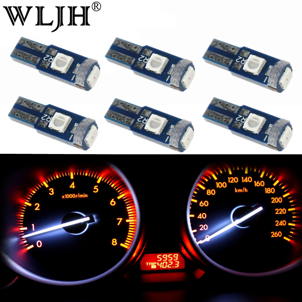 WLJH 6x 7Color 12v T5 wedge LED Light Car Dashboard Instrument Panel Lamp Bulb for <font><b>Mercedes</b></font> R129 <font><b>W140</b></font> W163 R107 W124 R170 W208 image