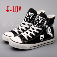 E LOV 3D Printed Beat It Canvas Shoes Street Style Hip Hop Men Boys Leisure Walking