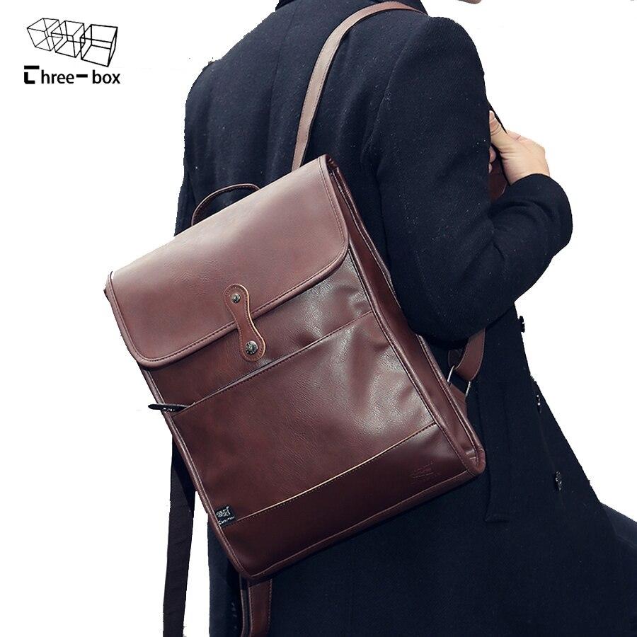 2017 New Mens Backpacks Man Rucksack 14 Inch Laptop Bag Student Schoolbags Men Travel Leather Backpack Bags Fashion bagpack