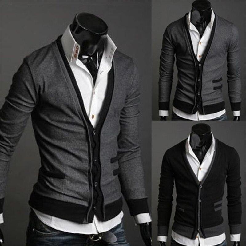 Zogaa 2019 novos homens cardigan suéteres moda lã sweatercoat malhas masculino gola em v outerwear roupas de marca único-peito