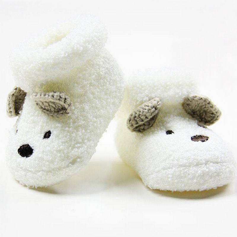 1 Pair Hot Newborn Toddler Infant Baby Socks Unisex Boy Girls Infant Cute Bear Crib Warm Shoes Toddler Baby Sapatos 0 -12 Month