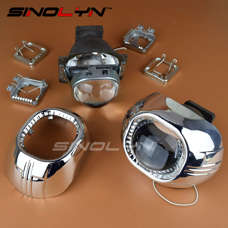 SINOLYN 3.0'' Car Headlight Lens Projector Koito Q5 Square Bi-xenon D1S D2H D2S D3S D4S HID Lights For Auto Retrofit Tuning DIY цена 2017