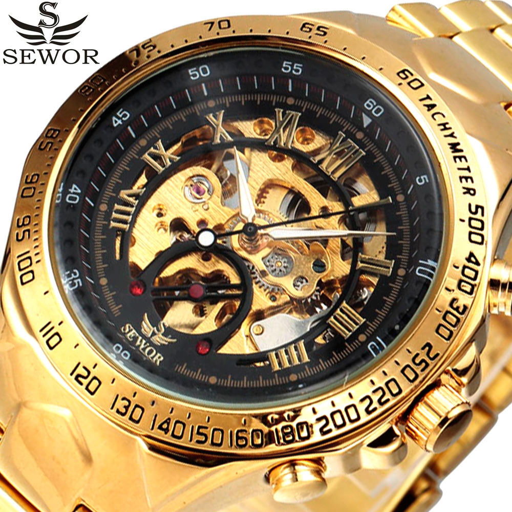 Luxury Brand SEWOR Military Skeleton Watch Men Sport Automatic Mechanical Watch Gold Vintage Clock Men Relogio Masculino цена
