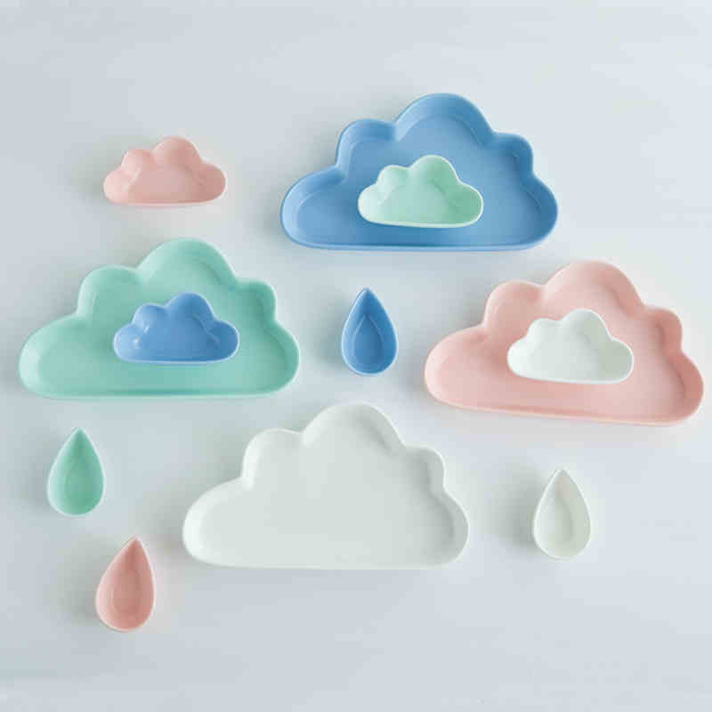 Creative Solid color clouds ceramic Children's tablewares Infant Feeding Plate Kid Fruit Dishes gift ceramic Children's utensil
