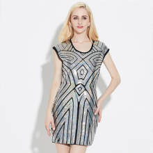 Shining 1920's Style Flapper Dress Sleeveless Vintage Sequin Party Above-Knee Dress Geometry Sequined O-Neck Dress