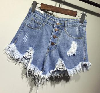 female fashion casual summer cool women denim Shorts high waists fur-lined leg-openings Plus size sexy short Jeans 4