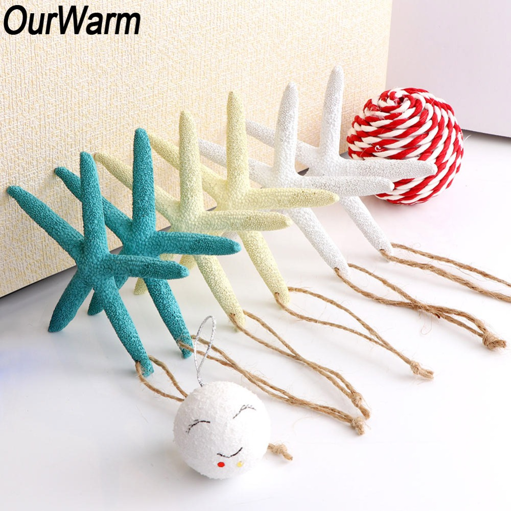 OurWarm 10pcs Craft Natural Fake Starfish Star Marine Ornament Pendant Hanging For Home Beach Rustic Wedding Party Decoration