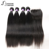 Joedir Hair 4 Bundles With 13x4 Lace Closure Natural Black Color 8 To 26 Inch Brazilian Straight Human Non Remy Free Shipping