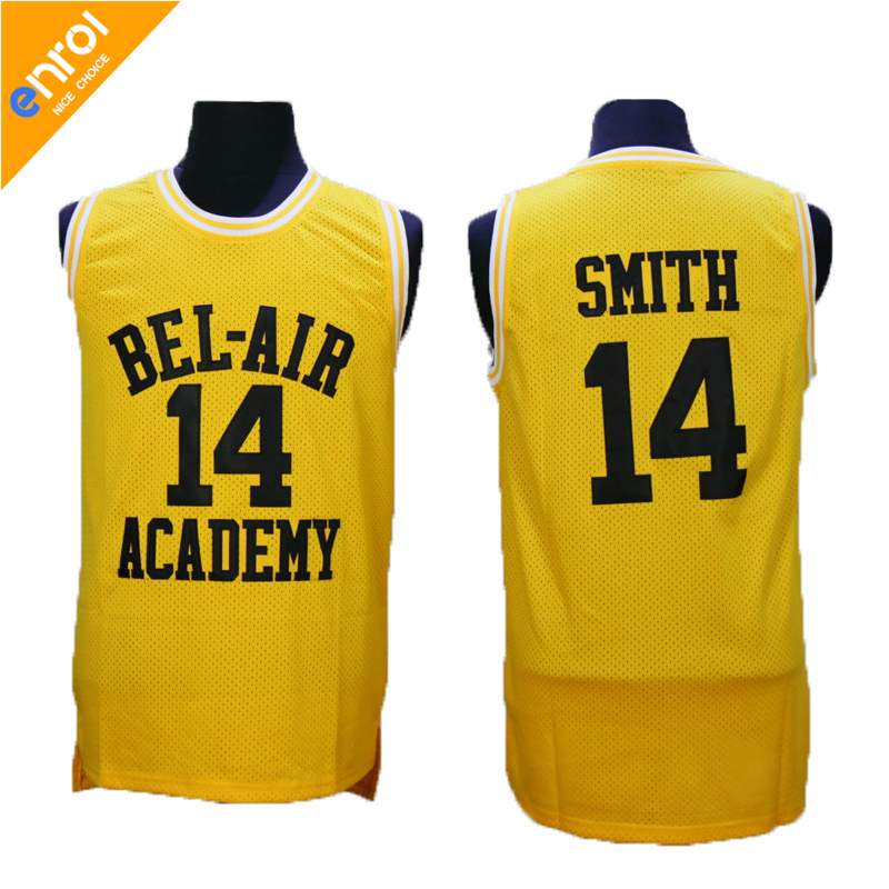 Men Bel Air Academy Basketball Jersey Will Smith 14# Jerseys Green/Black/Yellow 3Colors Stitched HipHop Throwback Shirts
