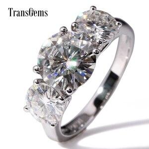 Image 1 - Transgems 14 18K ホワイトゴールド 5CTW センター 3ct 9 ミリメートルと 1ct 6.5 ミリメートル F 色モアッサナイト 3 石モアッサナイトの婚約指輪