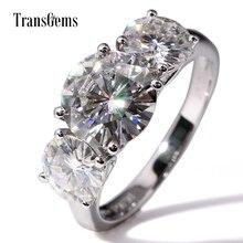 Женское кольцо для помолвки Transgems, кольцо из белого золота 14 к, 5CTW, центр 3ct, 9 мм и 1ct, 6,5 мм, F цвет моисанита, 3 камня