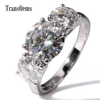 Transgems 14K White Gold 5CTW Center 3ct 9mm and 1ct 6.5mm F Color Moissanite Three Stone Moissanite Engagement Ring for Women - DISCOUNT ITEM  5% OFF All Category